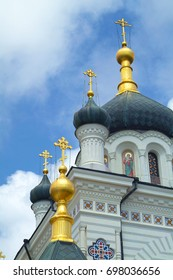 Crimean Foros Church at cloudy skies background. Close up view