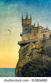 Crimean Swallow's Nest castle with moon and bird, vintage postcard style
