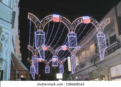 Crimean. Yalta. June 20, 2019. Evening walk in Yalta. Glowing decorations of the city at night
