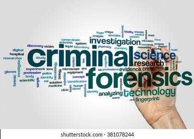 Criminal forensics concept word cloud background