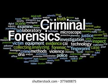 Criminal Forensics, word cloud concept on black background.