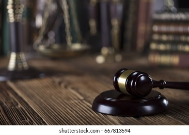 Criminal justice. Law symbols. Gavel, scales of justice, books. Courtroom theme.