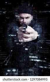 Criminal pointing a gun in a digital environment