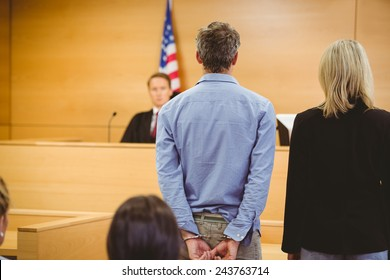 Criminal waiting for courts ruling in the court room