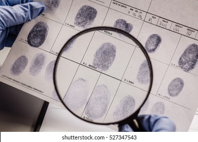 Criminology expert through a magnifying glass looking at a fingerprint