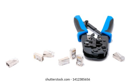 Crimping tool isolated on white background, use for twisted pair network cable with handful of RJ-45 connector.