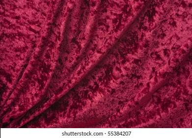 Crimson crushed draped velvet