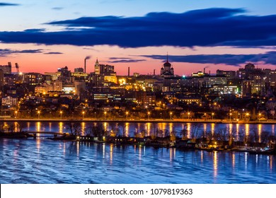 Crimson evening sunset over Voronezh skyline and Voronezh river.