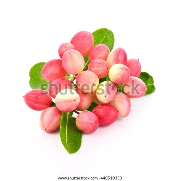 Crimson fruit named as koromcha isolated on white background