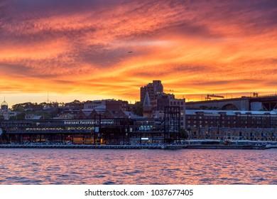 Crimson sky over the Overseas Passenger terminal in Sydney Harbour taken in Sydney, NSW, Australia on 5 October 2013