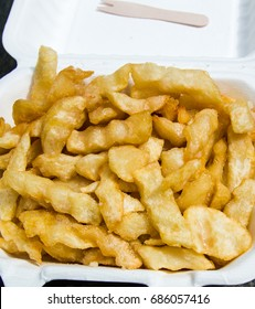 Crinkle cut chips fresh from Whitby fish and chip shop