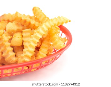 Crinkle Fries Isolated on a White Background