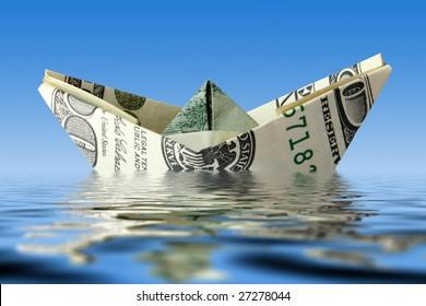 crisis concept. money ship wreck in water