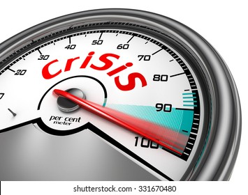 Crisis level to hundred per cent conceptual meter, isolated on white background