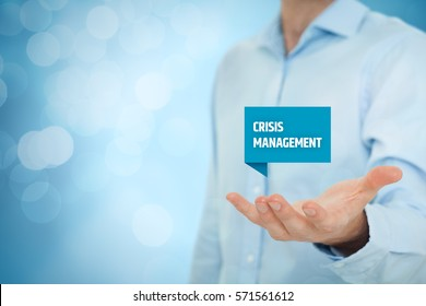 Crisis management service concept. Businessman hold virtual label with text crisis management.
