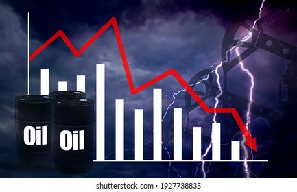 Crisis oil market. Falling petroleum prices. Oil logo on black barrels. Arrow on chart goes down. Reducing cost of hydrocarbons. Petroleum station and lightning in background. Forecast for oil market.