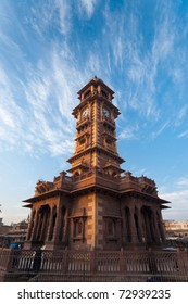A crisp beautiful morning at the base of the clock tower at Sardar market, a Jodhpur landmark in Rajasthan, India on a clear sunny, blue sky day. Vertical copy space