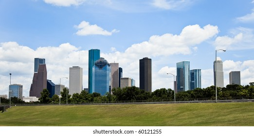 a crisp cityscape of the downtown Houston Texas skyline on a nice summer day