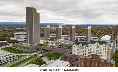 Its a crisp cold day in Albany New York downtown at the statehouse and Empire Plaza