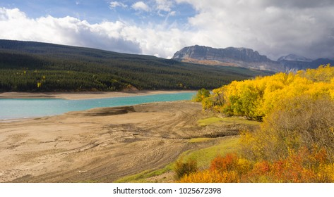 A crisp fall day is the last for Visitors to enter Glacier National Park as winter sets in creating deep yellow color