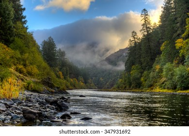 Crisp fall morning on the Rogue River in Oregon.