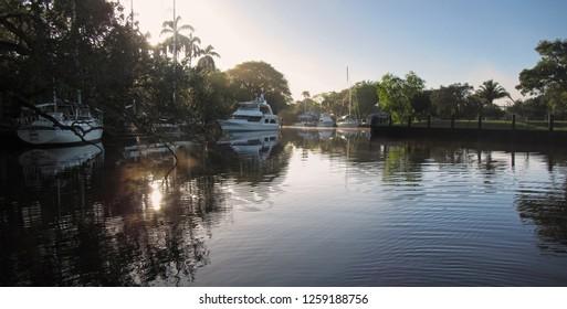 Crisp morning on South Florida River: New River in Fort Lauderdale