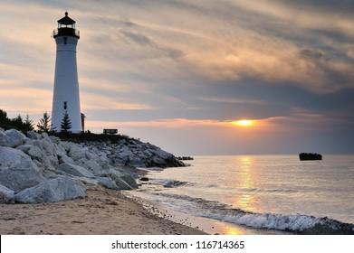 Crisp Point Lighthouse sunset, lake Superior Michigan