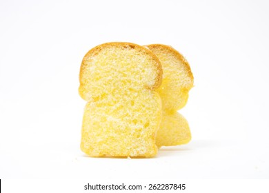 Crisp toast on white background , toast bread