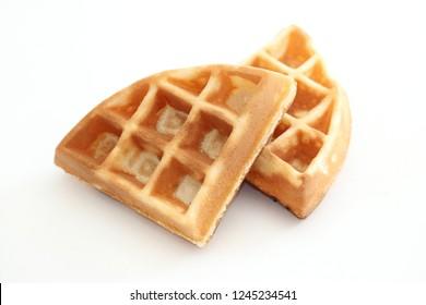 Crisp waffle isolated on white background