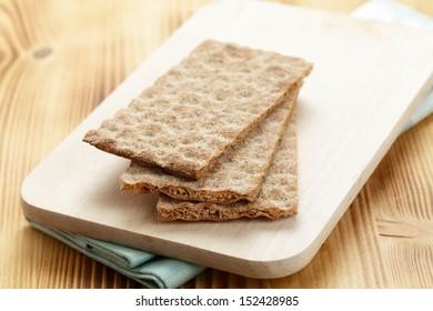 Crispbread on a wooden board