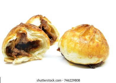 Crispy BBQ roasted chicken buns isolated on white background