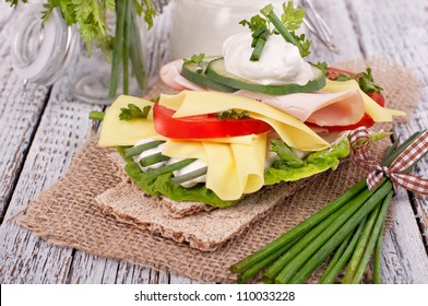 crispy bread sandwiches with organic vegetable and cheese, healthy eating food,