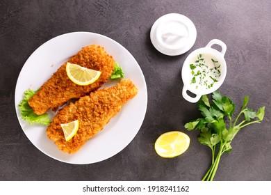 crispy breaded fish and sauce