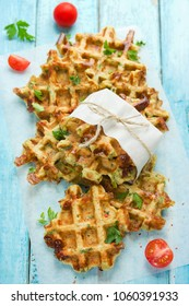 Crispy cheese vegetables waffles, salted homemade belgian waffles