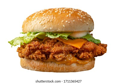 CRISPY CHEESY CHICKEN PATTY BURGER  ON WHITE PNG