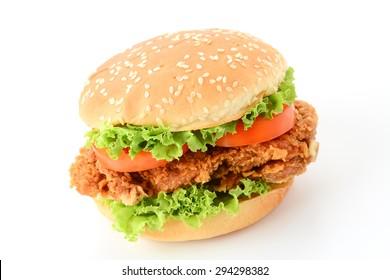 crispy chicken burger on white background