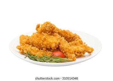 Crispy chicken fingers on a plate isolated on white / Crispy chicken fingers isolated / Crispy chicken fingers with tomatoes