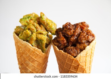 Crispy chicken waffle cone spicy and sour flavour