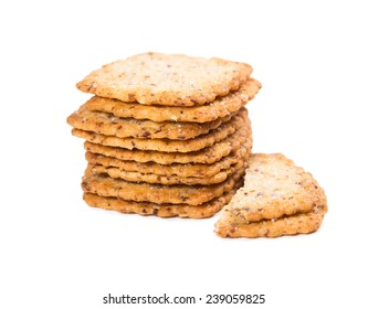 Crispy cookies with sugar isolated on white background
