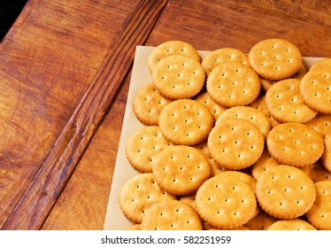 Crispy crackers on wrapping paper