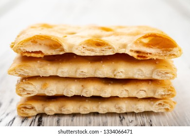 crispy crackers stacked up and the top cut into half
