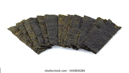 Crispy dried seaweed isolated on the white background