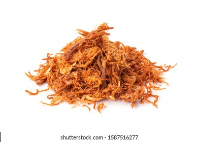 Crispy dried shredded pork isolated on white background. Closeup