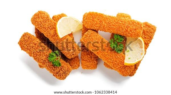 Crispy Fish fingers isolated on white background