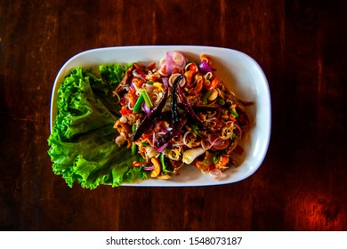 Crispy Fish Maw in Spicy Salad with vegetable delicious and healthy food is popular in Thailand