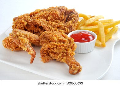 Crispy fried chicken broast with french fries