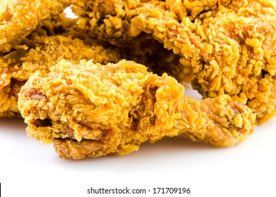 Crispy fried chicken meat on isolated white background