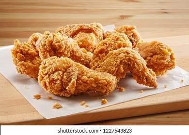 crispy fried chicken in a wooden table