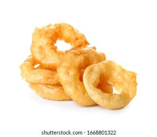 Crispy fried onion rings on white background