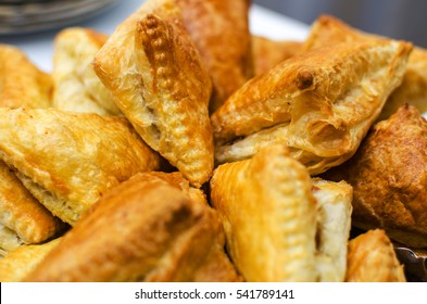 Crispy fried patties from puff pastry closeup